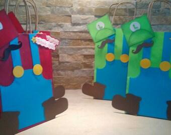 Mario Bros  Goody Bags set of 12 / Mario Bros Party Theme? Mario Bros Favor Bags
