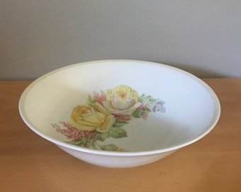 Vintage Celebrate yellow cabbage rose / pink lilac porcelain Transferware serving bowl made in Germany 1930s perfect for Old Florida home!