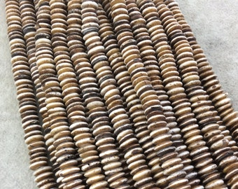 """8mm Bicolored Medium Brown Smooth Saucer/Disc Shaped Ox Bone Beads with 2mm Holes - 15"""" Strand (Approx. 155 Beads) - Sold by the Strand"""