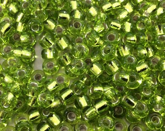 Size 6/0 Glossy Finish Silver Lined Chartreuse Genuine Miyuki Glass Seed Beads - Sold by 20 Gram Tubes (Approx. 200 Beads/Tube) - (6-9143S)