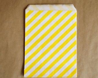 Set 5 yellow and white diagonal bags 13 x 18 cm