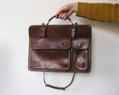 Vintage Leather Bag   Top Handle Leather Briefcase