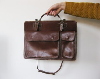 Leather Briefcase Etsy