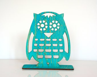 Turquoise Owl Jewelry Stand, Wooden Earrings Holder, Earring Stand, Earring Display, Earring Organizer, Unique Home Decor, Gift for Her