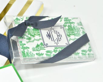 Monogrammed/Personalized Green Chinoiserie