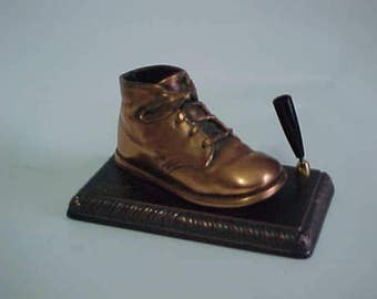 Mid Century Kitsch Bronzed Baby Shoe Desk Item/Pen Holder