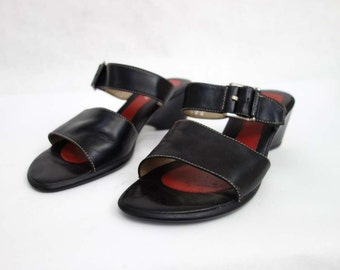 80s women's black leather sandals, 2.5inch heel, excellent condition. Women euro size 41
