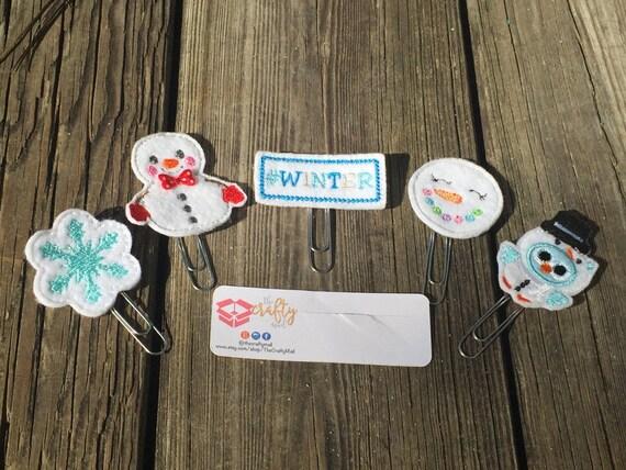 Winter Wonderland Paper Planner Clips set of 5! Christmas planner clip pack. Holiday planner clip pack