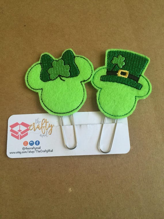 Mouse Inspired Clip/Planner Clip/Bookmark. Your choice of Mickey or Minnie. St Patrick's Day planner clip