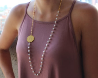 Engraveable Sideways Disk Pearl Necklace-Gold or Silver