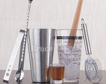 Engraved Modern Bar Mixologist Set-Monogram Mixologist Bar Set