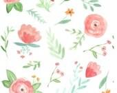 Crib Sheet | Girl Baby Bedding | Floral Crib Sheet | Mint Peach Wildflower Nursery | Floral Bedding | Standard or Mini Crib | Changing Pad