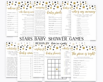 12 Games MEGA PACK , Twinkle Twinkle Little Star Baby Shower Game Pack , Black Gold Baby Shower Games , Baby Shower Activities , Printable