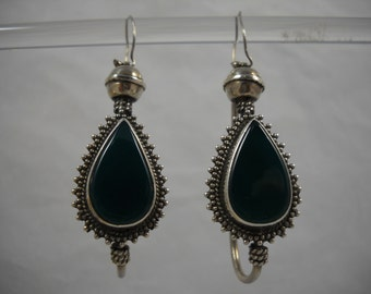 Sterling Silver Earrings Large Teardrop Greenstone 925 Sterling