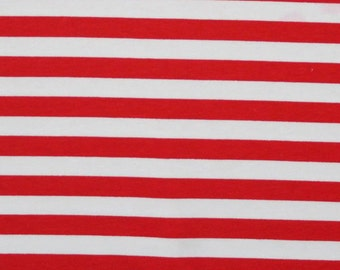 Knit Red White 1/2 inch Stripes Fabric 1 yard