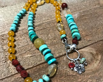 Citrine/turquoise hand knotted necklace -sterling silver flower charm - OOAK