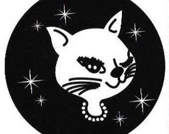 Vintage Winking Kitty Cat Sticker / Decal, Retro, Fifties, Lounge, Rockabilly