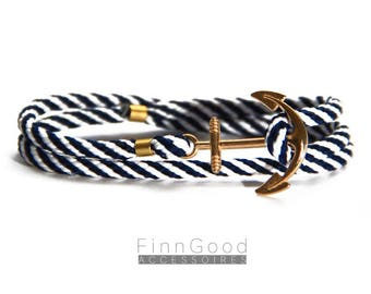 Anchor bracelet, blue striped with gold plated anchor, nautical bracelet