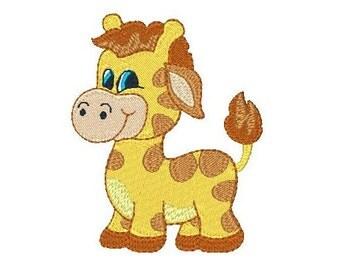 Giraffe Machine Embroidery Design, Baby Giraffe, Zoo Animal, Jungle Animal Machine Embroidery Design No: JG00061-1