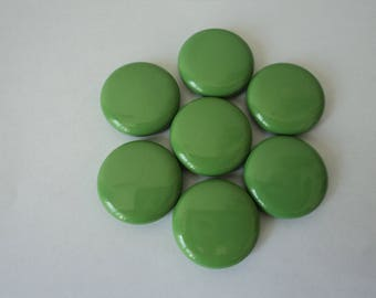 REDUCED - French vintage set of seven large green buttons (04637)