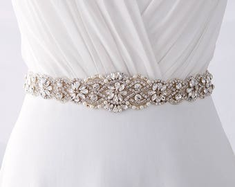 Bridal Belt, Beaded Bridal Belt, Crystal Bridal Belt, Pearl Bridal Belt, Rhinestone Bridal Belt, Bridal Belt Sash / B202