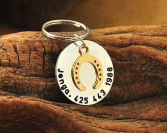 Horseshoe Tag,Horse Tag,Custom Horse Tag,  Identification Tag,  Hand Stamped Horse Name Tag with Phone Number