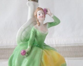 Vintage light porcelain - Lady in green