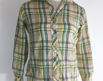 Vintage Plaid Long Sleeve Shirt Green Orange Plaid Shirt Fall Checkered Shirt Button Down 1970s Western Shirt Rockabilly