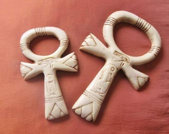 SET of 2 Amazing Antique Handmade Egyptian Wall Plaque Ancient Cross ANKH Statue