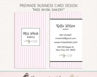 business card design bakery business card premade business card bakers business card calling card social card mommy card boutique card