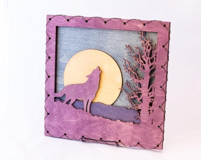 Wolf Wall Decor - Purple Wolf - Wolf Wall Art - Wolf Home Decor -  Mountain Wall Art - Rustic Mountain Decor - Mountain Decorating Idea