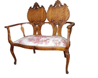 French Burlwood Settee French Toile Upholstered Window Seat Paris Apartment Settee French Country Carved Loveseat Continental Toile Settee