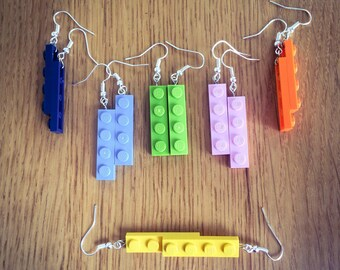 Lego earrings - Upcycled Lego dangle earrings with silver plated or gold coloured hooks