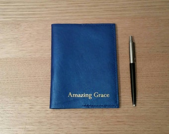 Blue leather A6 journal cover Amazing Grace