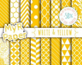 """SALE 50% Yellow Digital Paper: """"White & Yellow"""" Digital Paper Pack and Backgrounds with Chevron, Damask, Triangles, Stripes and Polka Dots"""