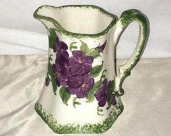 """Cash Family Hand Painted Pottery Clinchfield Artware Pitcher 5.5"""" Violets Floral"""