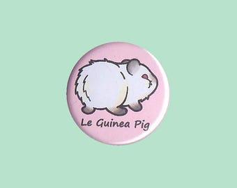Cute Guinea Pig Badge 'Le Guinea Pig' (HIMALAYAN) - guinea pig button, cavy button, guinea pig accessory, kawaii badges