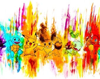 Postcard sized - Pokemon Acrylic Painting print