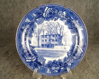 "Vintage 1899 Wedgwood England Blue & White ""Longfellow's Early Home"" 9.25"""