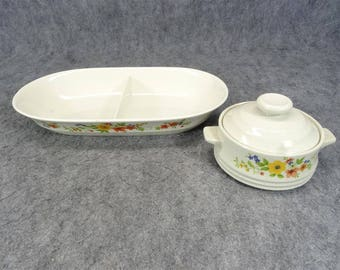 Bake Serve'nstore Stoneware Divided Baking Dish And Individual Casserole