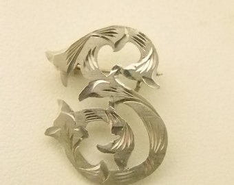 Sterling Silver Initial S Pin Brooch - Mexico