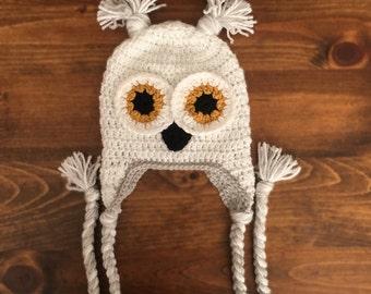 Snow Owl Hat, Crochet Owl Hat, Harry Potters Hedwig Inspired, Infant/Toddler/Childrens