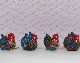 Vintage Easter chicken ornaments ceramic 1970s