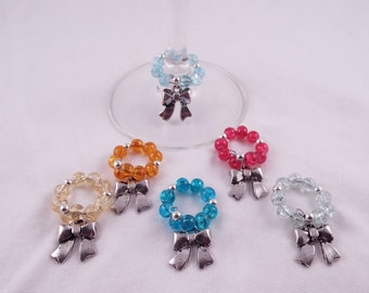 Celebrate (Set of 6 Bow/Ribbon Themed Memory Wire Wine Glass Charms)