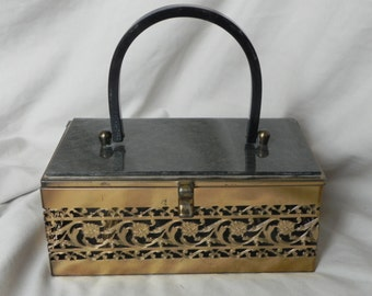 1950's or 1960's Ornate Brass and Gray Lucite Box Purse Handbag