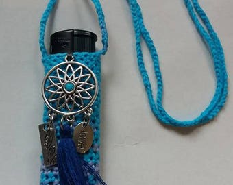 Blue lagoon handmade crochet lighter cozy.
