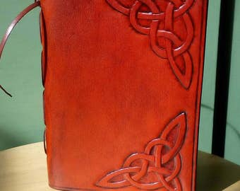 Handmade leather journal - Celtic Knot Corners