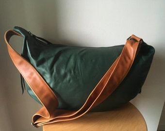Curvy, slouchy and soft handmade leather handbag Crossbody wide strap, cotton lined, Leather handbag tote, excellent diaper or work bag