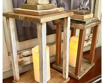 Set of two rustic wood lanterns