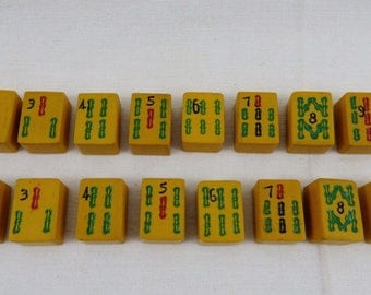 "Lot of 16 ""Chinese Bakelite"" Mah Jong Mah Jongg Tiles BAMBOOS"